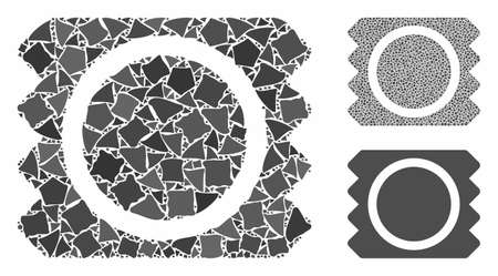 Condom package mosaic of humpy parts in various sizes and color tones, based on condom package icon. Vector unequal dots are composed into mosaic. Condom package icons collage with dotted pattern.