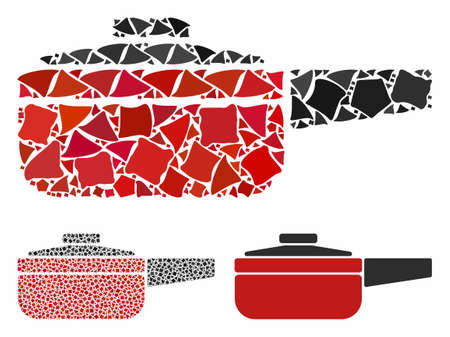 Dripping pan composition of unequal pieces in different sizes and color tinges, based on dripping pan icon. Vector ragged elements are combined into collage. Illustration