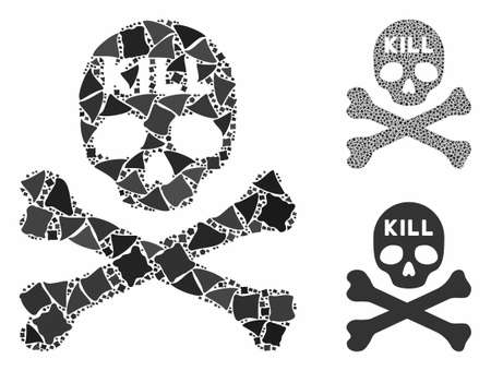 Kill death mosaic of inequal items in different sizes and color tints, based on kill death icon. Vector inequal parts are organized into collage. Kill death icons collage with dotted pattern. Ilustrace