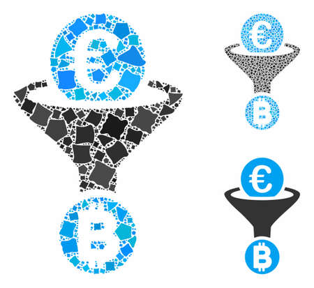 Euro Bitcoin conversion funnel mosaic of bumpy parts in variable sizes and color tinges, based on Euro Bitcoin conversion funnel icon. Vector bumpy parts are composed into mosaic. Illustration