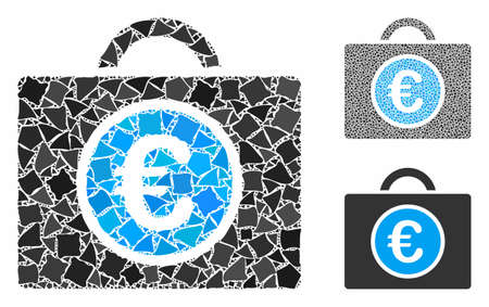 Euro bookkeeping mosaic of uneven parts in various sizes and shades, based on Euro bookkeeping icon. Vector raggy parts are combined into mosaic. Euro bookkeeping icons collage with dotted pattern.