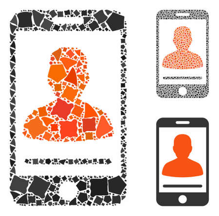 Mobile contact mosaic of irregular items in different sizes and color tinges, based on mobile contact icon. Vector tuberous items are united into mosaic.