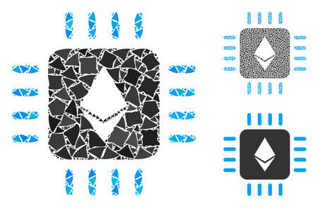 Ethereum processor chip mosaic of uneven pieces in different sizes and color tints, based on Ethereum processor chip icon. Vector joggly pieces are grouped into collage.
