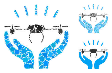 Drone launch hands composition of trembly parts in different sizes and shades, based on drone launch hands icon. Vector trembly parts are organized into composition.