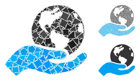 Earth care mosaic of inequal pieces in variable sizes and shades, based on Earth care icon. Vector tremulant pieces are grouped into collage. Earth care icons collage with dotted pattern.