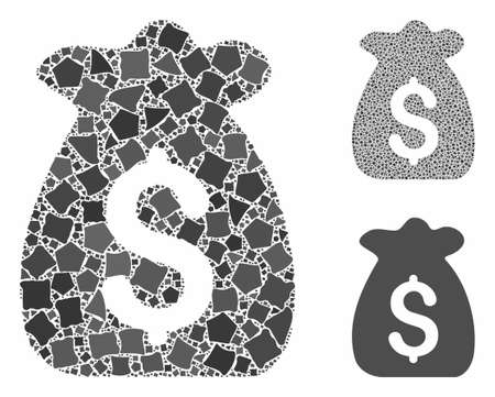 Financial capital mosaic of rugged items in different sizes and color hues, based on financial capital icon. Vector humpy items are organized into mosaic. Çizim
