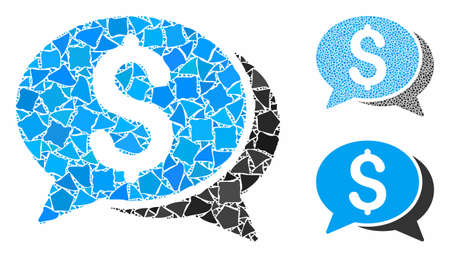 Financial chat mosaic of tuberous parts in different sizes and color tinges, based on financial chat icon. Vector tuberous items are grouped into mosaic.
