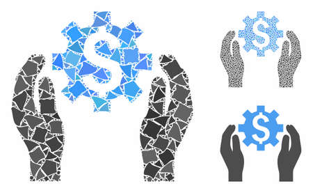 Financial options care hands mosaic of joggly items in variable sizes and shades, based on financial options care hands icon. Vector joggly items are grouped into composition.