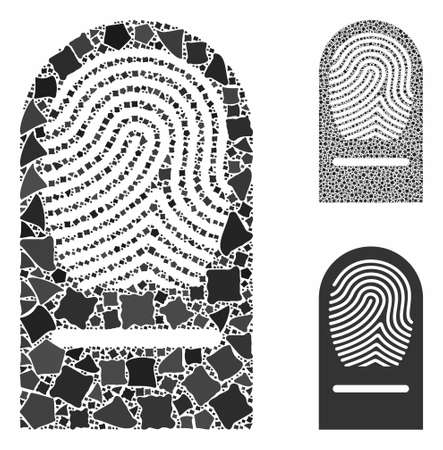 Finger print mosaic of uneven items in variable sizes and color tinges, based on finger print icon. Vector bumpy items are organized into mosaic. Finger print icons collage with dotted pattern.