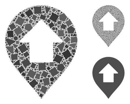 Forward up arrow marker mosaic of humpy pieces in various sizes and shades, based on forward up arrow marker icon. Vector tuberous pieces are combined into mosaic. Illusztráció
