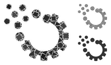 Gear disruption composition of bumpy elements in variable sizes and color tints, based on gear disruption icon. Vector ragged elements are combined into collage.