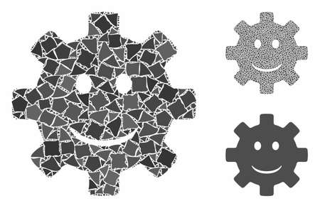 Gear smile smiley composition of irregular items in variable sizes and color tinges, based on gear smile smiley icon. Vector irregular elements are grouped into composition.