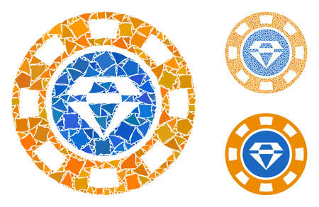 Gem casino chip composition of bumpy items in various sizes and color tints, based on gem casino chip icon. Vector bumpy dots are organized into collage.