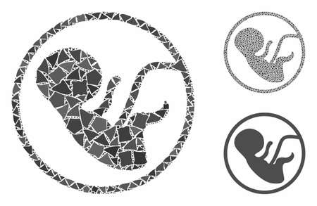 Human embryo composition of joggly pieces in variable sizes and color hues, based on human embryo icon. Vector joggly elements are united into illustration.