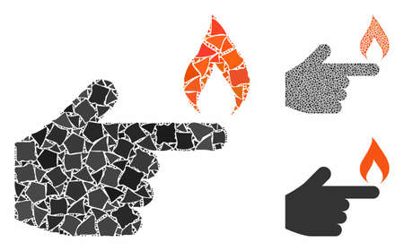 Index finger fire mosaic of joggly elements in different sizes and color tints, based on index finger fire icon. Vector tremulant elements are organized into mosaic.