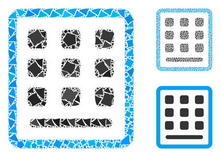Keypad composition of trembly elements in variable sizes and color tinges, based on keypad icon. Vector tuberous elements are united into composition. Keypad icons collage with dotted pattern. Illusztráció