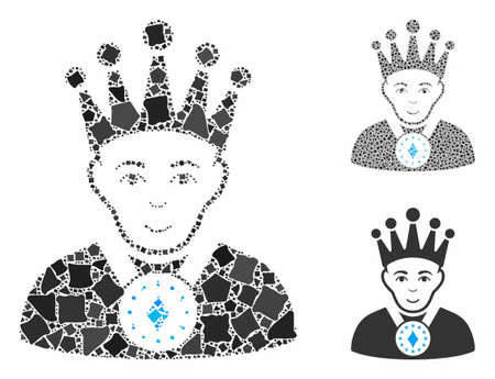 King composition of uneven parts in different sizes and color tints, based on king icon. Vector abrupt parts are united into composition. King icons collage with dotted pattern.