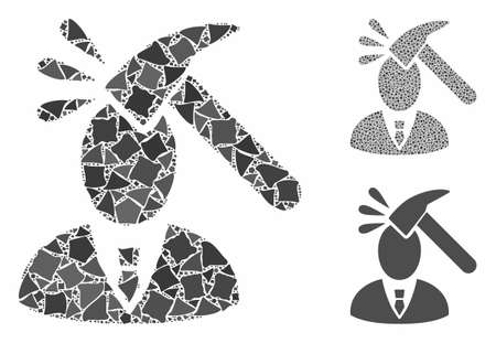 Manager shock composition of rough pieces in various sizes and shades, based on manager shock icon. Vector uneven pieces are united into composition. Manager shock icons collage with dotted pattern.