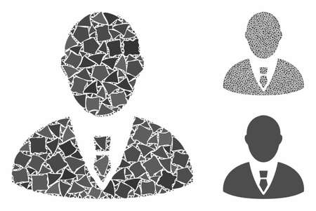 Manager mosaic of inequal elements in variable sizes and color tones, based on manager icon. Vector uneven elements are united into mosaic. Manager icons collage with dotted pattern.