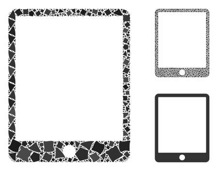 Mobile tablet mosaic of trembly parts in various sizes and color tones, based on mobile tablet icon. Vector tuberous parts are combined into mosaic. Mobile tablet icons collage with dotted pattern.
