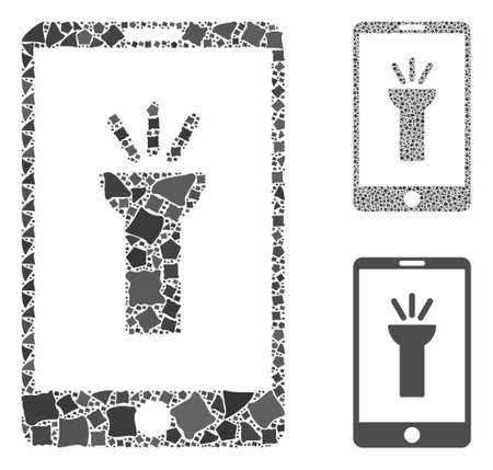 Mobile light app mosaic of rugged pieces in variable sizes and shades, based on mobile light app icon. Vector rough elements are grouped into collage.