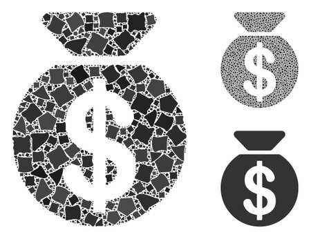 Money bag mosaic of humpy items in different sizes and color hues, based on money bag icon. Vector rugged items are united into mosaic. Money bag icons collage with dotted pattern.