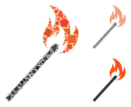 Match fire composition of inequal elements in different sizes and shades, based on match fire icon. Vector rough elements are composed into collage. Match fire icons collage with dotted pattern. Illustration
