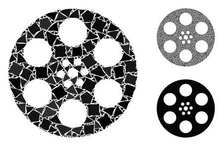 Reel composition of irregular items in different sizes and color hues, based on reel icon. Vector abrupt items are grouped into collage. Reel icons collage with dotted pattern.