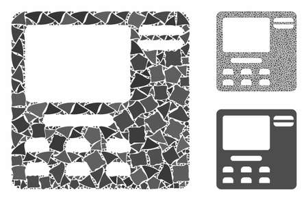 ATM device mosaic of irregular parts in different sizes and color tints, based on ATM device icon. Vector rugged dots are organized into mosaic. ATM device icons collage with dotted pattern.