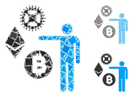 Person show cryptocurrency composition of tuberous items in different sizes and color tinges, based on person show cryptocurrency icon. Vector inequal items are organized into composition.