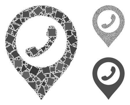 Phone marker mosaic of inequal elements in various sizes and shades, based on phone marker icon. Vector raggy elements are organized into mosaic. Phone marker icons collage with dotted pattern. Фото со стока - 133383610