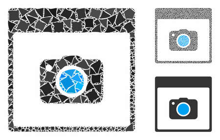 Photo camera calendar page composition of humpy items in various sizes and color hues, based on photo camera calendar page icon. Vector rough items are grouped into composition.