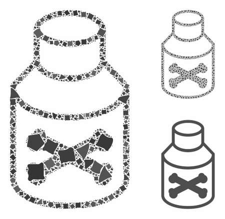 Poison phial composition of ragged parts in variable sizes and color tinges, based on poison phial icon. Vector ragged dots are combined into collage. Poison phial icons collage with dotted pattern. Illusztráció