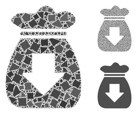 Profit bag composition of inequal pieces in various sizes and color tints, based on profit bag icon. Vector raggy pieces are combined into collage. Profit bag icons collage with dotted pattern.