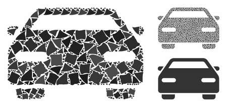 Car mosaic of irregular items in variable sizes and color tones, based on car icon. Vector bumpy parts are combined into collage. Car icons collage with dotted pattern. Illustration