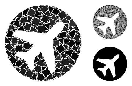 Airplane composition of humpy elements in different sizes and shades, based on airplane icon. Vector abrupt elements are composed into collage. Airplane icons collage with dotted pattern.