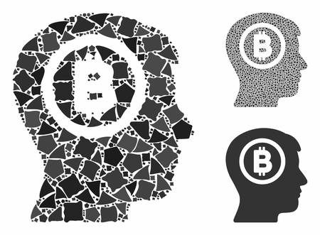 Bitcoin thinking head composition of unequal items in different sizes and color tinges, based on Bitcoin thinking head icon. Vector tuberous items are composed into composition. Stock Illustratie