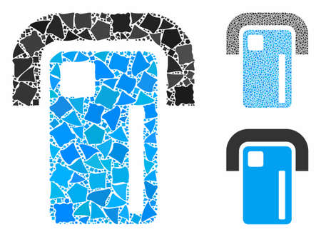 Payment terminal mosaic of unequal parts in various sizes and color hues, based on payment terminal icon. Vector trembly parts are grouped into mosaic. Çizim