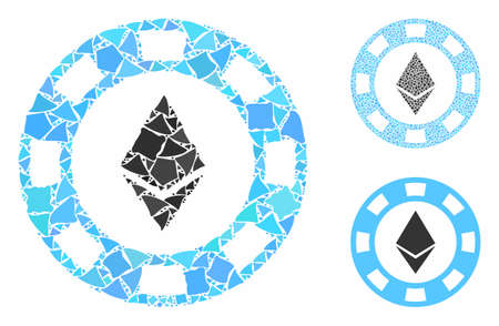Ethereum casino chip composition of unequal elements in various sizes and shades, based on Ethereum casino chip icon. Vector trembly elements are grouped into composition.