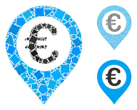 Euro pushpin composition of tuberous parts in various sizes and color hues, based on Euro pushpin icon. Vector unequal parts are composed into collage. Euro pushpin icons collage with dotted pattern. Illustration