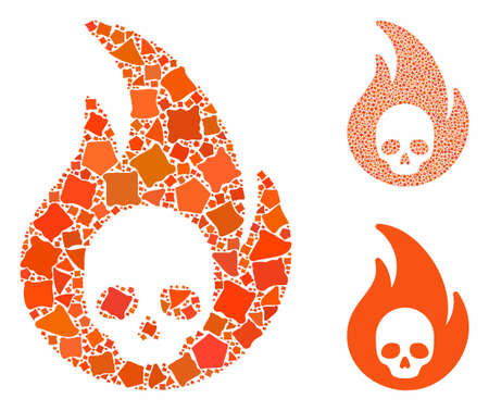 Hellfire mosaic of trembly pieces in variable sizes and color hues, based on hellfire icon. Vector trembly items are combined into mosaic. Hellfire icons collage with dotted pattern.
