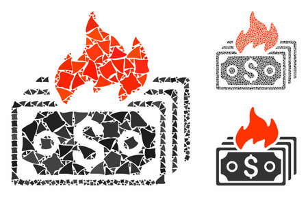 Burn banknotes mosaic of inequal items in variable sizes and color tints, based on burn banknotes icon. Vector abrupt parts are organized into collage.