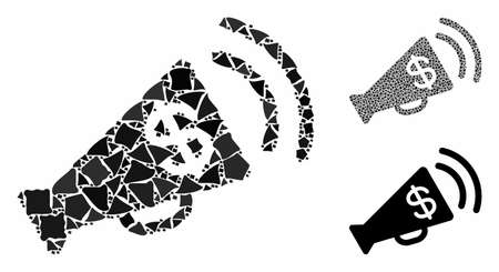 Ads megaphone budget mosaic of abrupt parts in various sizes and shades, based on ads megaphone budget icon. Vector tremulant parts are organized into collage.