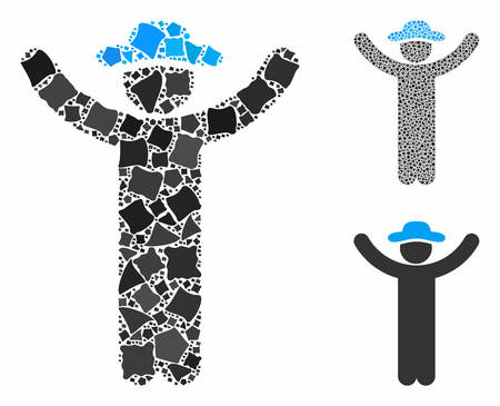 Hands up gentleman mosaic of joggly parts in different sizes and color hues, based on hands up gentleman icon. Vector raggy parts are grouped into mosaic.