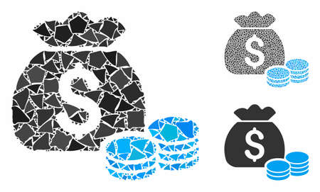 Money bag composition of rough parts in different sizes and shades, based on money bag icon. Vector joggly pieces are composed into collage. Money bag icons collage with dotted pattern. Çizim