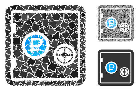 Rouble bank safe mosaic of tremulant items in different sizes and color tints, based on rouble bank safe icon. Vector humpy items are united into mosaic.