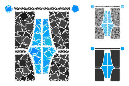 Interior curtains mosaic of uneven items in different sizes and color tinges, based on interior curtains icon. Vector tremulant items are united into mosaic. 矢量图像