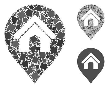 House marker composition of abrupt items in variable sizes and color hues, based on house marker icon. Vector abrupt pieces are united into collage. House marker icons collage with dotted pattern. 일러스트