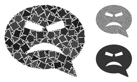 Furious smiley message mosaic of rough items in variable sizes and color hues, based on furious smiley message icon. Vector raggy items are united into collage.