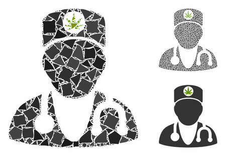 Marijuana doctor composition of humpy parts in different sizes and color tints, based on marijuana doctor icon. Vector uneven dots are united into composition.